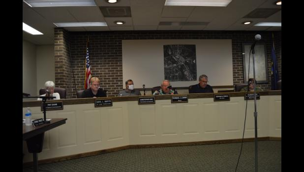 Commercial-News   Scott Hassinger - The Three Rivers City Commission discusses the purchase of a new VAC Truck for the City at it's meeting Tuesday evening.