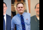 Photos provided - (From left to right) Local banker Jared Hoffmaster, St. Joseph County Democratic Party chairman Andrew George and non-profit summer camp property manager Matthew Mosher are vying for the First District seat on the St. Joseph County Board of Commissioners in the Nov. 3 general election.